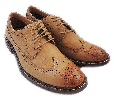 New Fashion Mens Lace Up Wingtip Oxfords Casual Leather Lined Dress Shoes /brown