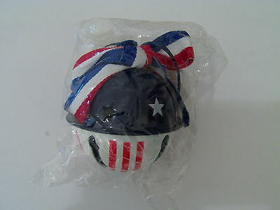 Red White & Blue Metal Patriotic Bell Ornament Collectable