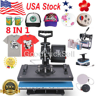8 in 1 Transfer Sublimation T-Shirt Mug Hat Plate Cap Heat Press Machine Printer