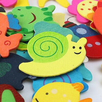 48PCS Colorful Wooden Various Shapes Cartoon Refrigerator Magnets for Children