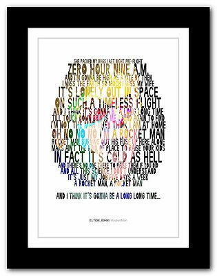 ELTON JOHN Rocket Man ❤ song lyrics typography poster art print - A1 A2 A3 A4