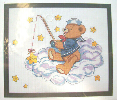 Janlynn's Just-A-Chart Counted Cross Stitch CATCH A FALLING STAR Bear Fishing