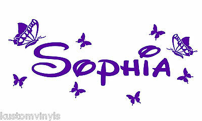 Personalized Name Butterflies Kids wall art vinyl decal Removable boy girl