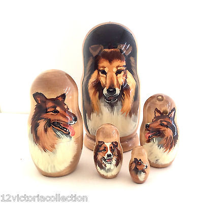 Collie Dog breed Russian handmade animal Nesting puppy DOLL Set of 5 dolls