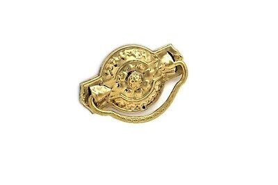 Antique Style Victorian Drawer Pull, Ring Pull Vintage Single Post  Solid Brass