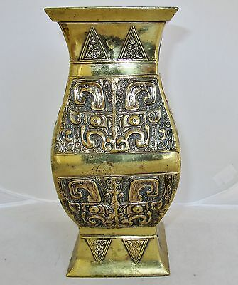 "10.25"" Antique Chinese Square Archaic Style Bronze MING Zun Vase w/ Beast Heads"