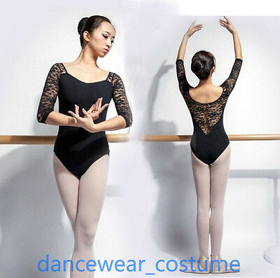 Ladies Ballet Dance Gymnastics Leotard with Lace Long Sleeve Gym Leotard Costume