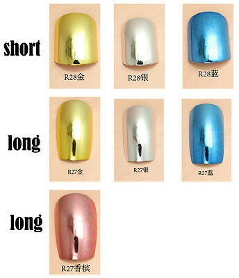24x Super Lady Series Metallic Color Shiny Acrylic False Fake Full Nail Tips