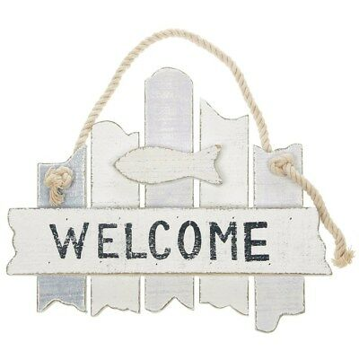 Seaside Nautical Distressed Hanging WELCOME Sign Plaque
