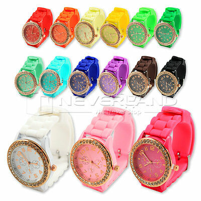 Golden Crystal Stone Quartz Ladies/Women/Girls Jelly Geneva Silicone Wrist Watch