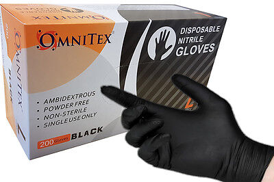 4 - 1000 Omnitex BLACK NITRILE Disposable Gloves, Powder Free, Tattoo Mechanic