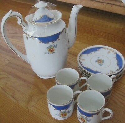 English Bone China Tea Set with Gold Accents Teapot & 4 Demitasse Cups & Saucers