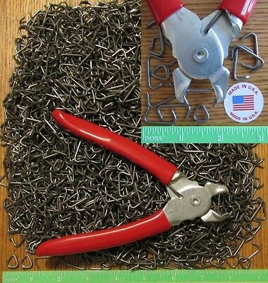 """USA Hog Ringer Pliers &200pcs 3/4"""" Hog Rings Netting Fence Cages Car Upholstery"""