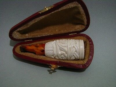 MEERSCHAUM CIGAR HOLDER HANDMADE UNUSED WITH FITTED CASE RING 45-46