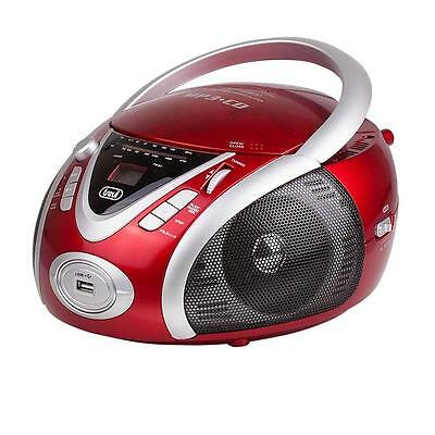 New Portable Ghettoblaster Cd Player Radio Usb Mp3 Compact Boombox Red Free P&p