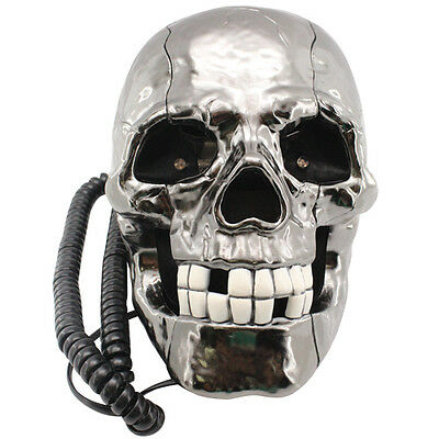 "Novelty ""Flashing LED Eyes"" Rustic Skull Corded / Wired Land Line Phone"