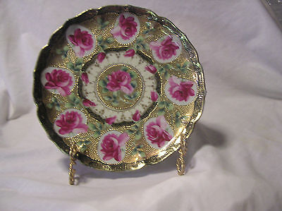 Nippon Plate (Circled Rose With Beaded Gold)Plate