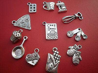 Alloy silver baking cooking  kitchen charms for jewellery making crafts BAKE OFF