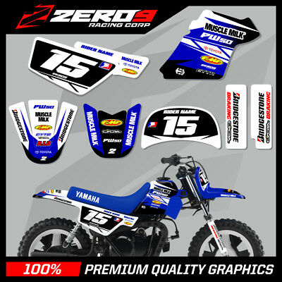 Yamaha Pw50  Motocross Mx Graphics Decal Kit Team Issue White / Blue