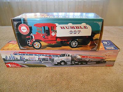 lot (2) Exxon Gas Truck 1994 Humble 1997 Tanker Tiger Lights Work Advertising