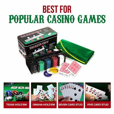 Wicked Gizmos Texas Hold'em Poker Game Set Mat 2 Decks Playing Cards 200 Chips