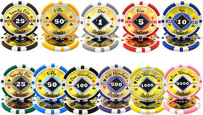 Bulk Lot of 1000 Black Diamond 14 Gram Casino Grade Quality Clay Poker Chips New