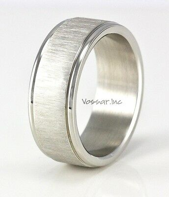 Men's Stainless Steel High Polish Modern Wedding Band Ring ILLUSION Design 8mm