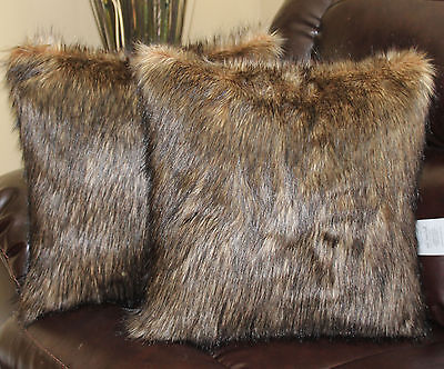 Wolf Brown Black Faux Fur 18 x 18 in. Throw Pillow - Set of 2