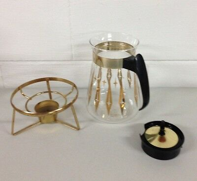 Vintage Pyrex Corning Glass Works Coffee/Tea Carafe ~ 8 cup ~ Pot/Lid/Stand
