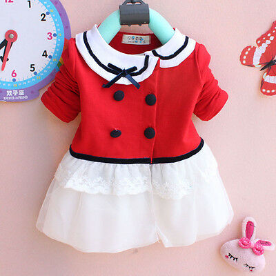 Girl Kids Baby Infant Newborn Children Top Coat Cardigan Dress Clothes 0-24M Red