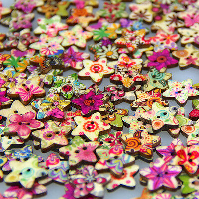 50pcs Wooden Buttons Multi Color Star Shape DIY Sewing Scrapbooking Craft Button