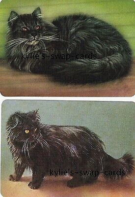 R6 PAIR swap playing cards MINT CONDITION Black Persian fluffy cats kittens