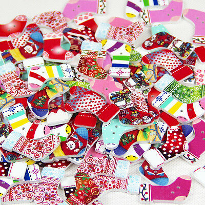 40pcs Wooden Buttons Christmas Stockings DIY Sewing Scrapbooking Craft Button