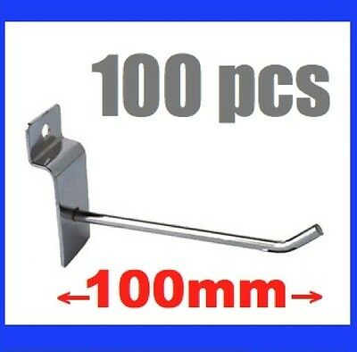 100x New Metal Slatwall Slat Wall Board Hooks 100mm