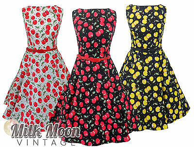 New Vintage 1950s Style Cherry Print Pattern Swing Circle Party Dress Plus Size