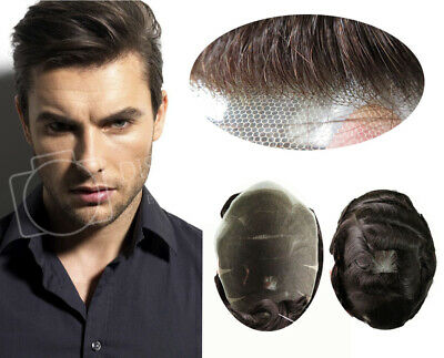 Natural Hairline Swiss Lace Toupee Human Hair Replacement System Mens Hairpiece