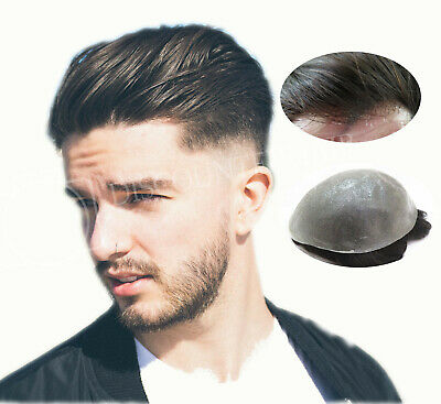 Invisible Mens Hair Replacement System Ultra Thin Poly Skin Toupee Hairpieces