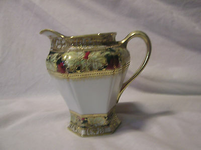 Nippon (White Leaves All Around Top & Botom Accented By Beaded Gold) Pitcher