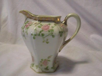 Nippon (Pink Roses Around Each Section Beaded Gold AroundTop & Bottom  ) Pitcher