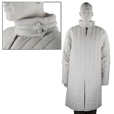 Medieval XL White Classic Gambeson Padded Unisex Armor Jacket Cottton Wool  SCA