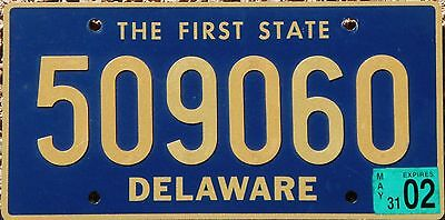 DELAWARE Riveted License Plate - Random Numbers - DE The First State