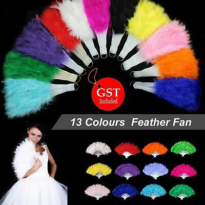 13 Colours Feather Fan Folding Hand Costume Wedding Showgirl Dance Fancy Party A