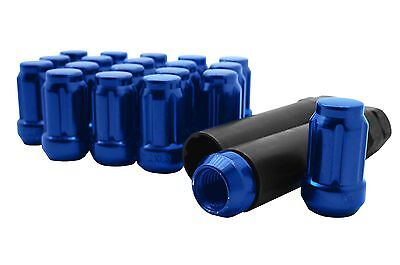 Blue Closed End M12x1.5 6 Spline Lug Nuts 20pcs + 2 Keys