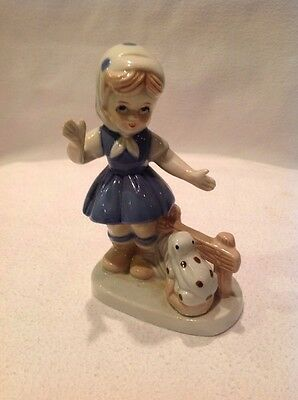 KPM Porcelain Figurine Girl with Frog Beautiful Vintage Piece