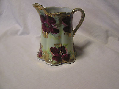 Nippon (Red Flowers With Beaded Gold On The Pitcher & Around Flowers ) Pitcher