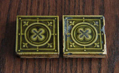 Antique Minton Hollins & Co. Glazed Ceramic Fireplace Tiles. English. Late1800s