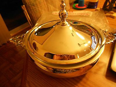 F.B. ROGERS SILVER PLATED CASSEROLE DISH WITH LID & PYREX GLASS INSERT