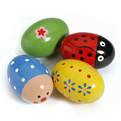 Egg Wooden Baby Child Children Toy Music Instrument Percussion Colorful Maracas