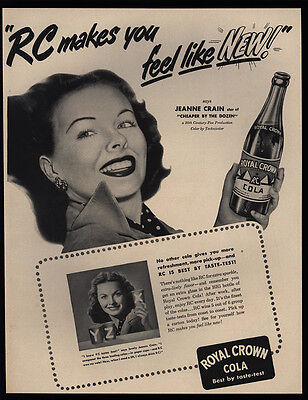 1950 JEANNE CRAIN - Cheaper By The Dozen Actress - RC Cola - VINTAGE AD
