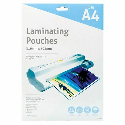 A4 80 Micron Laminating Pouches Laminator Machine Waterproof Sheets 10 - 150PK